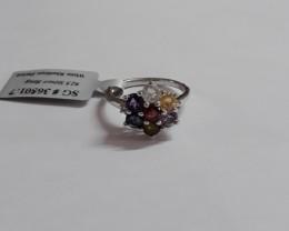 Multi gemstone 925 Sterling silver ring #501