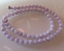 UNHEAT NATURAL LAVENDER JADE NECKLACE 8MM/ 47cm