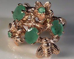 A Rose Gold Bee with Emeralds over Sterling Silver Ring Size 6