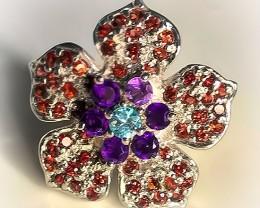 Zircon Garnet Amethyst Sterling Silver Ring Size 8