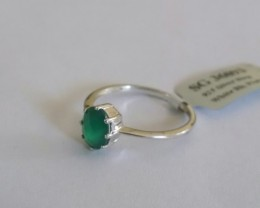 Green onyx 925 Sterling silver ring #093