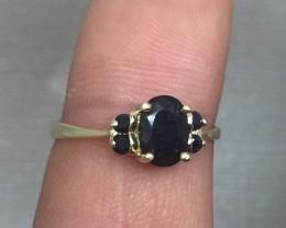 (B5) Brilliant Nat. 1.33tcw Black Sapphire Gold Ring 10K YG