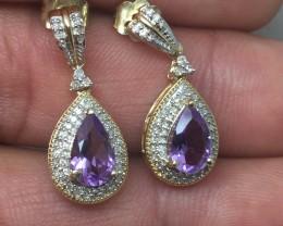 (B5) Dazzling Nat 2.75 tcw. Purple Amethyst & Diamond Earrings