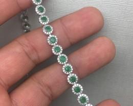 (B5) Sublime Nat 55.0tcw Top Rich Green Colombian Emerald & CZ Bracelet