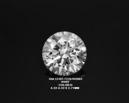 0.31ct D Color TRIPLE EX  GIA certified White Diamond