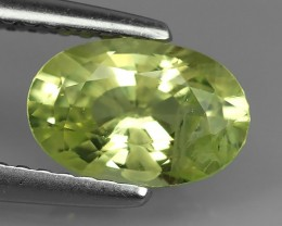 1.70 CTS.REMARKABLE! OVAL FACET-LEMON YELLOW CHRYSOBERYL  NATURAL NR!