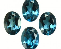 5.92  Cts Natural London Blue Topaz Oval Cut 4 Pcs Brazil