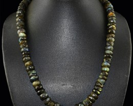 Genuine 540.00 Cts Blue Flash Labradorite Faceted Beads Necklace