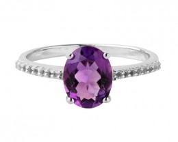 Amethyst 925 Sterling silver ring #651