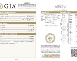 0.5ct D Color VVS2 GIA certified White Diamond
