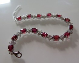 VERY NICE RUBY BRACELET SET IN SILVER