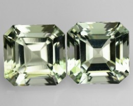 8.20 Cts Natural Green Amethyst/Prasiolite 10 mm Square 2 Pcs Brazil