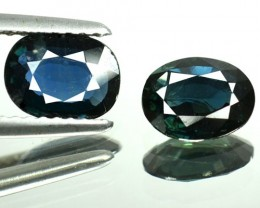 1.83 Cts Natural Blue Sapphire Oval Cut 2 Pcs Africa