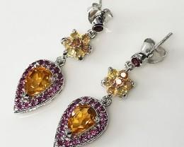 Citrine Rhodolite Sapphire Gem Earrings Sterling Silver 14kt White Gold