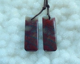26ct Natural African Blood Stone Rectangular Earring Beads(18030803)