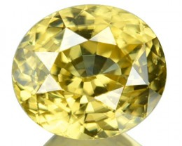 2.34 Cts Natural Yellow Zircon oval Cut Cambodia Gem