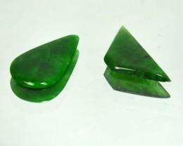 Rare 1.14 Cts Natural Green Jade Cabochon 2 Pcs Burmese Gem