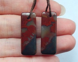 33ct Natural African Blood Stone Rectangular Earring Beads(18030811)