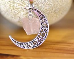 Rose Quartz Moon Necklace (NR1)
