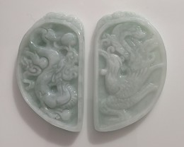 114cts FINELY CARVED JADEITE JADE PAIR PENDANTS SOUL MATES