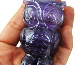 Genuine 745.00 Cts Purple Fluorite Carved Owl