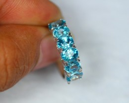 19.30ct Sterling Silver 925 Natural Blue Zircon Sz 7.25 Ring GW936