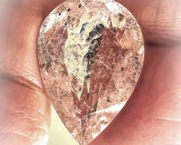 10.88ct Sparkly Glittering Silver Pink Morganite Pear Cut gem no reserve