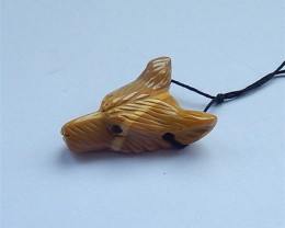 35ct Wolf Head,Natural Mookite Jasper HandCarved Wolf Head Necklace Pendant