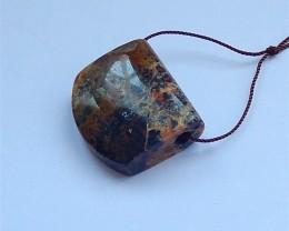 74ct Natural Petrified Wood Opal Gemstone Pendant Bead (18031126)
