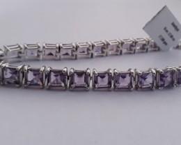 Amethyst 925 Sterling silver tennis bracelet #33073