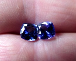 HIGH QUALITY PAIR OF CERTIFIED TANZANITES CUSHION 2.14cts