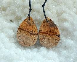 41.5ct Natural Picture Jasper Drilled Earring Beads (18031208)