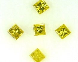 0.10 Cts Natural Fancy Yellow Diamond 5 Pcs Africa