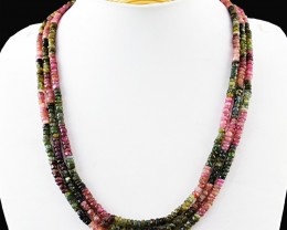 Genuine 235.00 Cts 3 Lines Tourmaline Beads Necklace