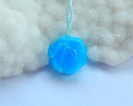 16.5ct Blue Jasper Carved Flower Pendant  Bead for Necklace(18031222)