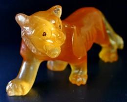 1501 ct Top Quality Superb Orange Calcite Carved Tiger Shape