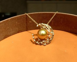 18k Gold  South Sea Golden Pearl&Diamonds Pendant