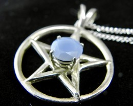 New hand made sterling silver Blue Opal 30 carat pendant