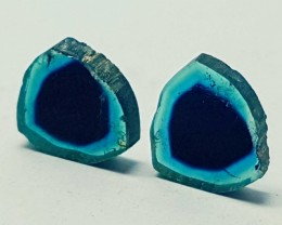 3.55cts  SUPERB QUALITY WATERMELON TOURMALINE BLUE SLICES PAIR