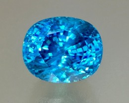 GIL Certified 8.65 Cts Blue Zircon Awesome Color ~ Cambodia
