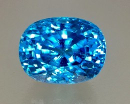 GIL Certified 9.57 Cts Blue Zircon Awesome Color ~ Cambodia