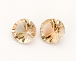 0.95ct Total Weight Champagne Concave Round Sunstone Pair (S2539)