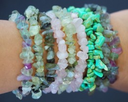 10  soft hues ,Beautiful Mixed Gemstone Bracelets SU673