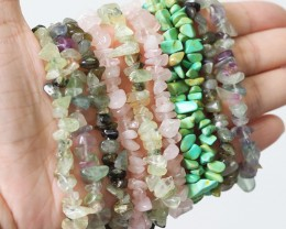 10  soft hues ,Beautiful Mixed Gemstone Bracelets SU675
