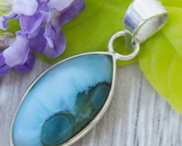 Beautiful natural Pendant , Larimar from Caribbean SU686
