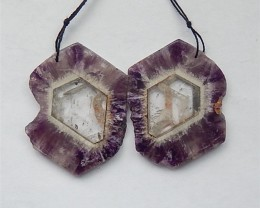 124ct Hot Sale Natural Amethyst Quartz Earring Pairs(18031547)
