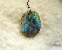 86ct Natural Labradorite Carved Butterfly Drilled Pendant(18031549)