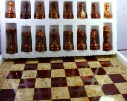 22100 CT Natural Onyx Carved Chess Board Special Shape