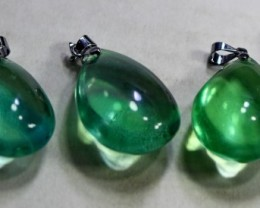 5 Pcs 203 CT Natural - Unheated Green Fluorite Pendant