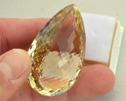 226.80 Carat Fantastic Pear Checkerboard Cut Lemon Quartz